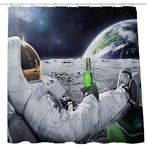 Shower Curtain Cloth Fabric Polyester Decoration Washing Room 12 Self Grommets Plastic Rings The Moon Earth Planet A Men Drink Beer USA Flag 72x72 inch (180x180cm) (3) (Beer Shower Curtain)
