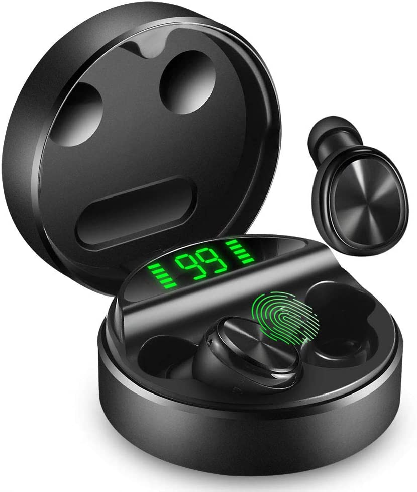 yobola Auriculares Bluetooth, Bluetooth 5.0 Auriculares 24H Reproducción 3D Stereo HD Cascos Inalámbricos, Control Táctil, Auriculares Inalámbricos con Estuche de Carga Inalámbrico