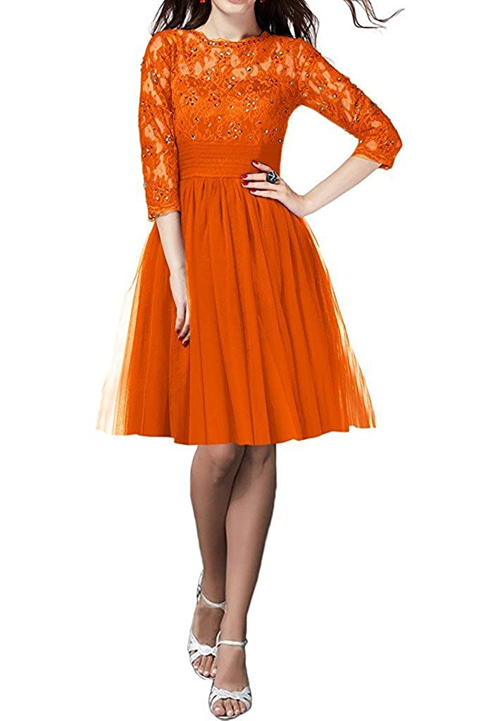 orange QY Bride Gorgeous Lace Bridal Party Dresses for Bridesmaid 3 4 Sleeve