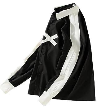 17c11d74b KLJR Mens Casual Print Hipster Hip Hop Long Sleeve Loose Button Down Shirt  Black US XS