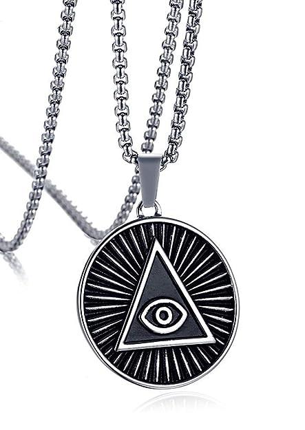 bajo precio 254e1 fd6b6 XBMEN Acero Inoxidable Triángulo Illuminati Ojo de la ...