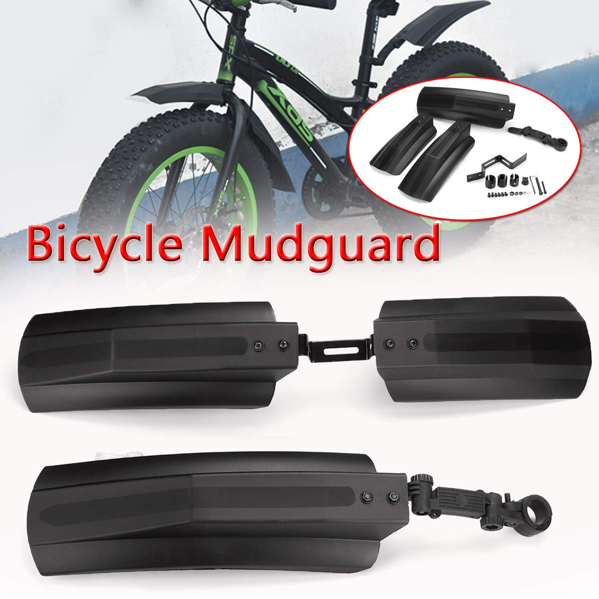 Amazon.com : SONSAN Bicycle Mudguard, 26 inch Snow Bicycle Bike Front Rear Mudguard Cycling Bike Fender for Fat Tire Mountain Bike : Sports & Outdoors