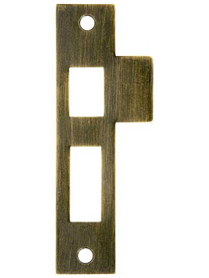 "4 1/2"" Solid Brass Mortise Strike Plate In Antique Brass - 4 1/2"