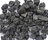 Black Lava Rocks for Gas Fire Pit, 1 Cu Ft, (approx. 35 lbs). Naturally Formed Lava Mined in the USA. Varies In Size From 1/2'' to 1 1/2''