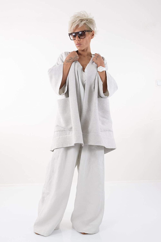 LOCKERROOM Women Linen Spring Summer Plus Size Coat