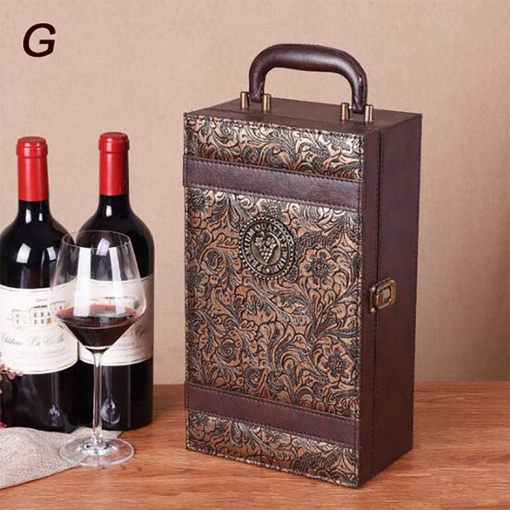 2 Botellas De Cajas De Cuero De Vino Tinto, Caja De Almacenamiento, Caja De Vino, Con Cuatro Accesorios Para Vino, 2 X 750 Ml,G: Amazon.es: Hogar