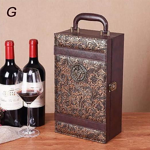 2 Botellas De Cajas De Cuero De Vino Tinto, Caja De Almacenamiento ...