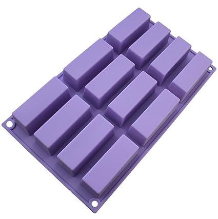 DingSheng Molde de chocolate rectangular de 12 agujeros de silicona para jabón hecho a mano, gelatina, vela para hornear pasteles: Amazon.es: Hogar