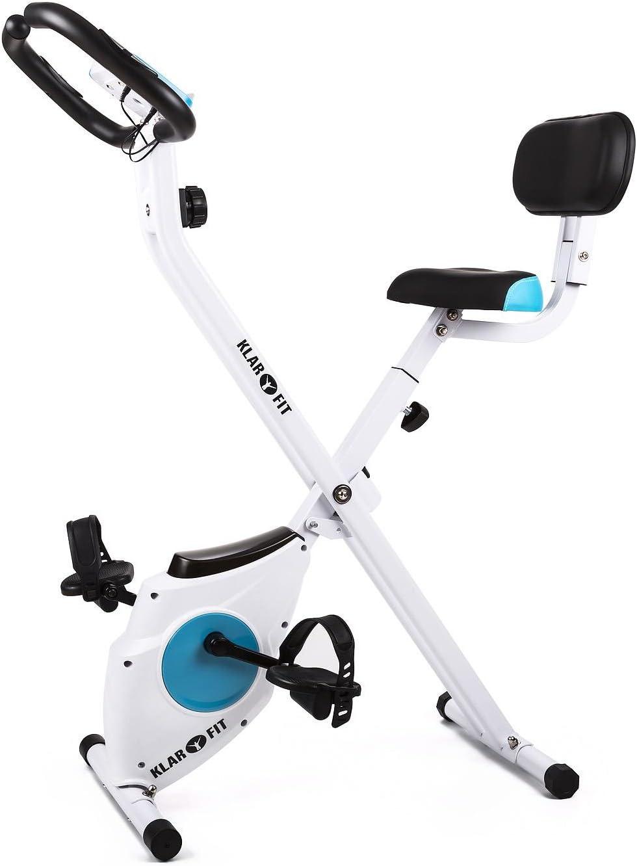 Klarfit Azura - Bicicleta Fija, Bici estática, Ordenador de Entrenamiento, Medidor de Pulso, 8 Niveles de Resistencia, Volante de inercia 3 kg, Máx. 100 kg