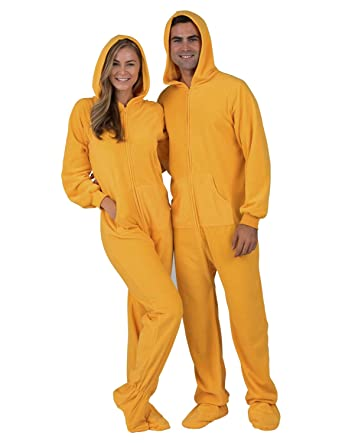 a72f77c6009f Amazon.com  Footed Pajamas - Creamsicle Adult Hoodie Fleece Onesie ...