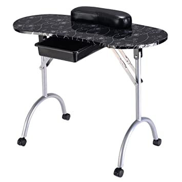 Amazon.com : Giantex Nail Table Station Portable Manicure Tech Desk ...