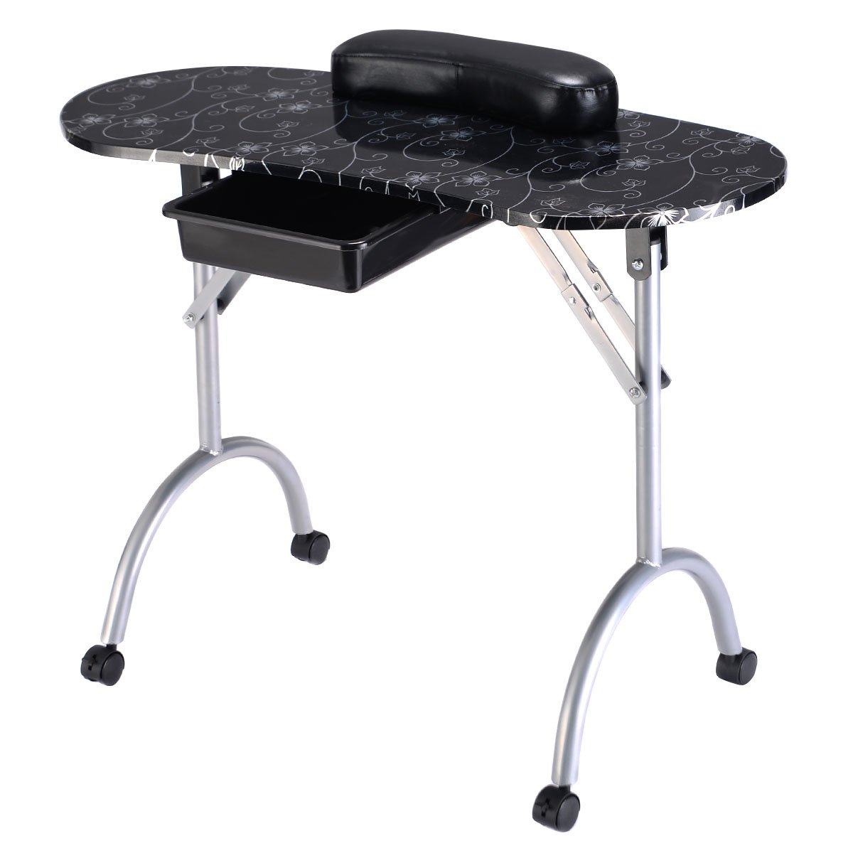 PROSPERLY U.S.Product Black Flower Art Manicure Nail Table Portable Station Desk Spa Beauty Salon Equipment New