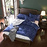 3 Or 4pcs Polyester Fiber Blue Letters Reactive Dyeing Bedding Sets Twin Full Qu ( Full Size )