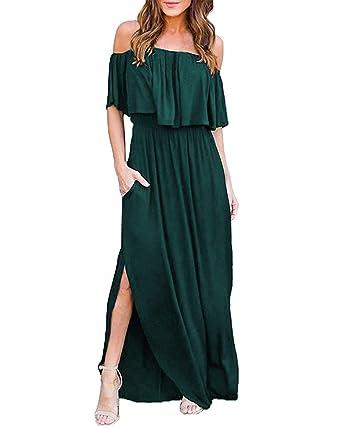 a5ef7db016 KILIG Women s Off Shoulder Ruffle Side Split Beach Long Maxi Dress with  Pockets (Green