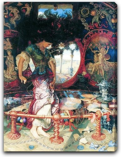 "Holman-Course, William, and Hughes, Edward Robert - The Lady of Shalott by Edward Robert Hughes - 15"" x 19"" Extra Thick 2.5"" Gallery Wrapped Canvas Art Printed matter - Ready to Hang"