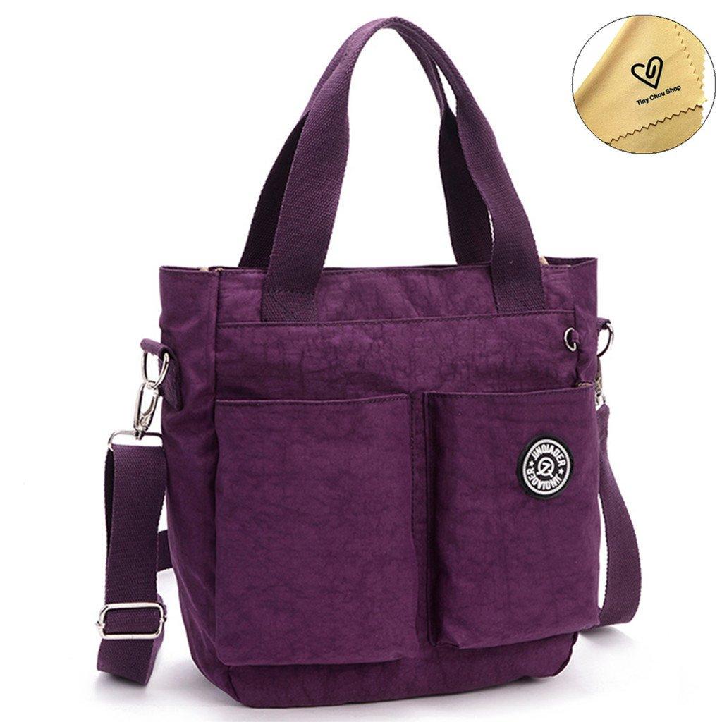 Tiny Chou Water Resistant Nylon Tote Style Handbag Cross body Bag Lightweight Mommy Bag-Purple