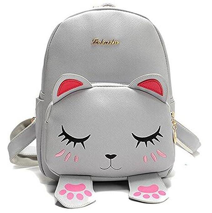 Amazon.com | LE BI YOU Mini Backpack For Girls Cute Cat Design Fashion Leather Bag Women Casual Dayback (Grey) | Kids Backpacks