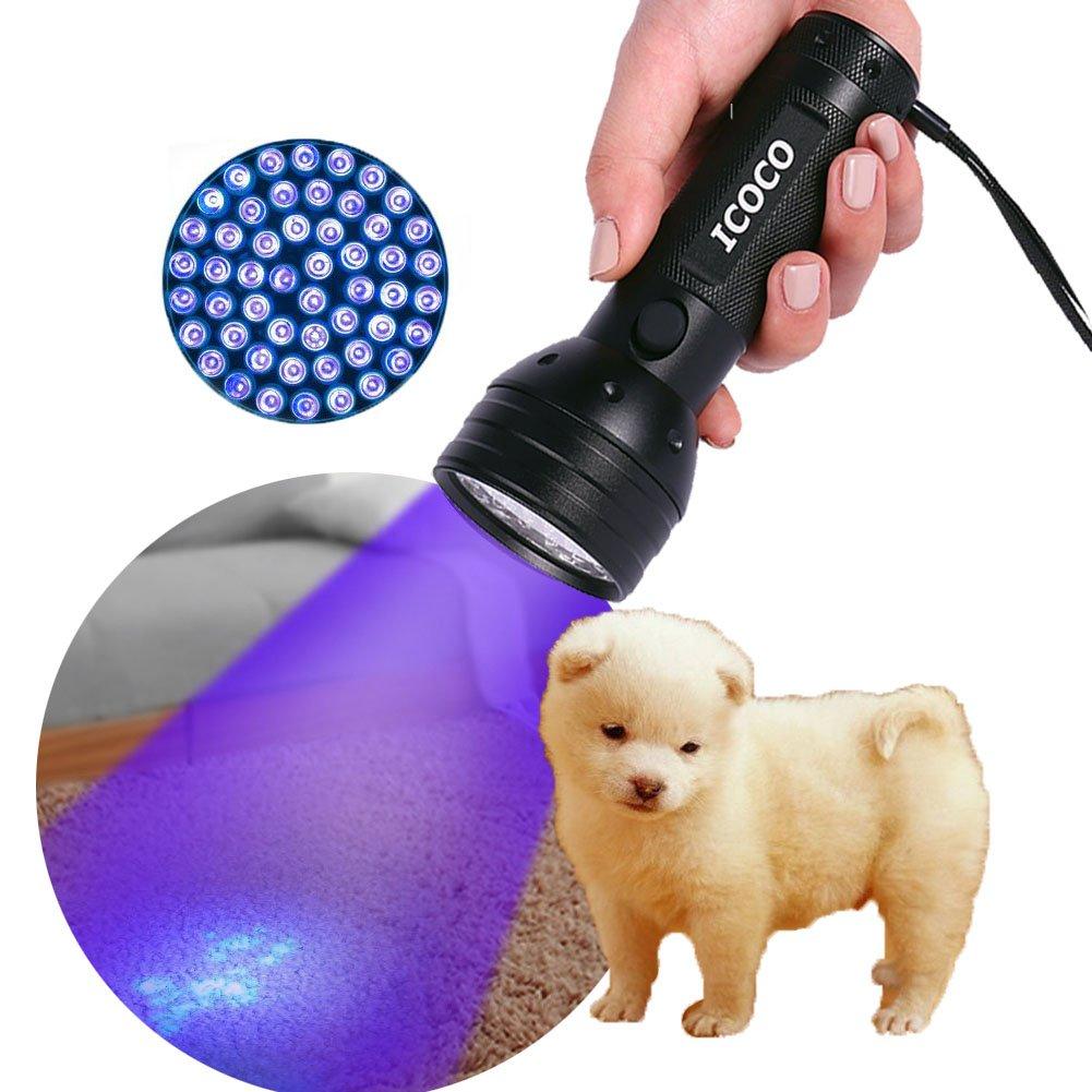 ICOCO Black Light for Pet Urine Detection ,51 LED UV Light Leak Detection Find Dry Stains on Carpets, Automotive Leak Detection or Scorpion Hunting (51 LED)