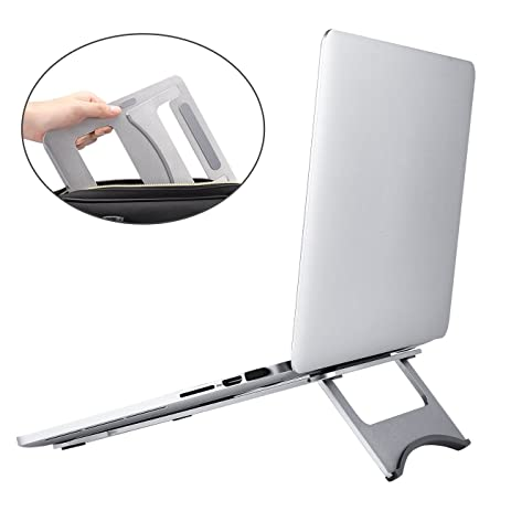 Foldable And Portable Aluminum Laptop Stand For Macbook Notebook And  Tablets (Silver)