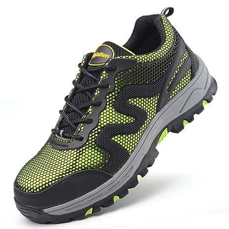 YXWa Botas para Hombres Seguro de Trabajo Zapatos Calzado Deportivo tendón Tela Verano Transpirable Tejido Zapatos