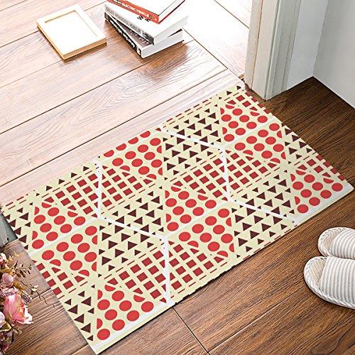 Doormat Kitchen Floor Bath Entrance Rugs Absorbent Indoor Bathroom Decor Door Mats Rubber Non Slip, 32 x 20 Inch Orange And Yellow Geometric (0110 Rug)