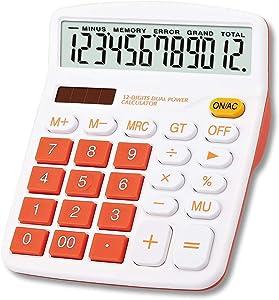 Meichoon Large Calculator Orange, Office Solar Calculator Dual Power Financial Dedicated Calculator 12 Digit Display Large Standard Function Desktop Business Calculator Multifunctional KA08