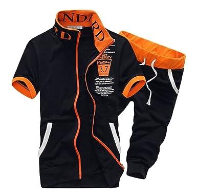 5499903b8b Fubotevic Mens 2 Piece Outfits Short Sleeve Jogger Shorts Pants Sweatsuits  Tracksuits Sets at Amazon Men s Clothing store
