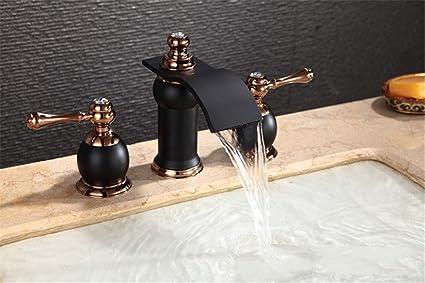 Rubinetto Del Bagno In Inglese : Qinlei antica di rame dipinto cascata rubinetto del bagno del doppio