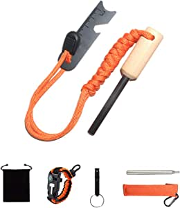 Camping Gear Fire Starter Whistle Paracord Bracelet Collapsible Pocket Fire Bellows.for Outdoor Camping Hiking BBQ.