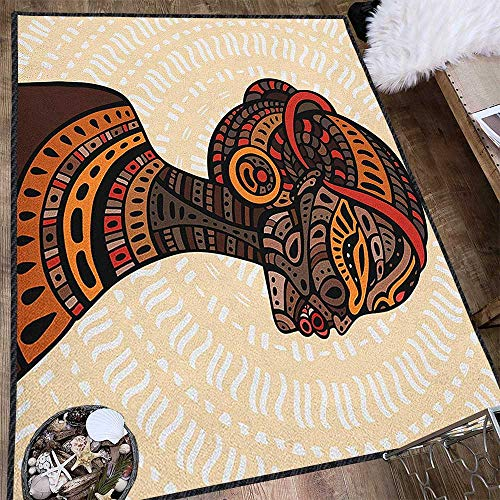 (African Woman Contemporary Painting Art Rug,Hand Drawn Ethnic Illustration Profile Portrait Tribal Ornaments Folk Art Provides Protection and Cushion for Floors Multicolor 63