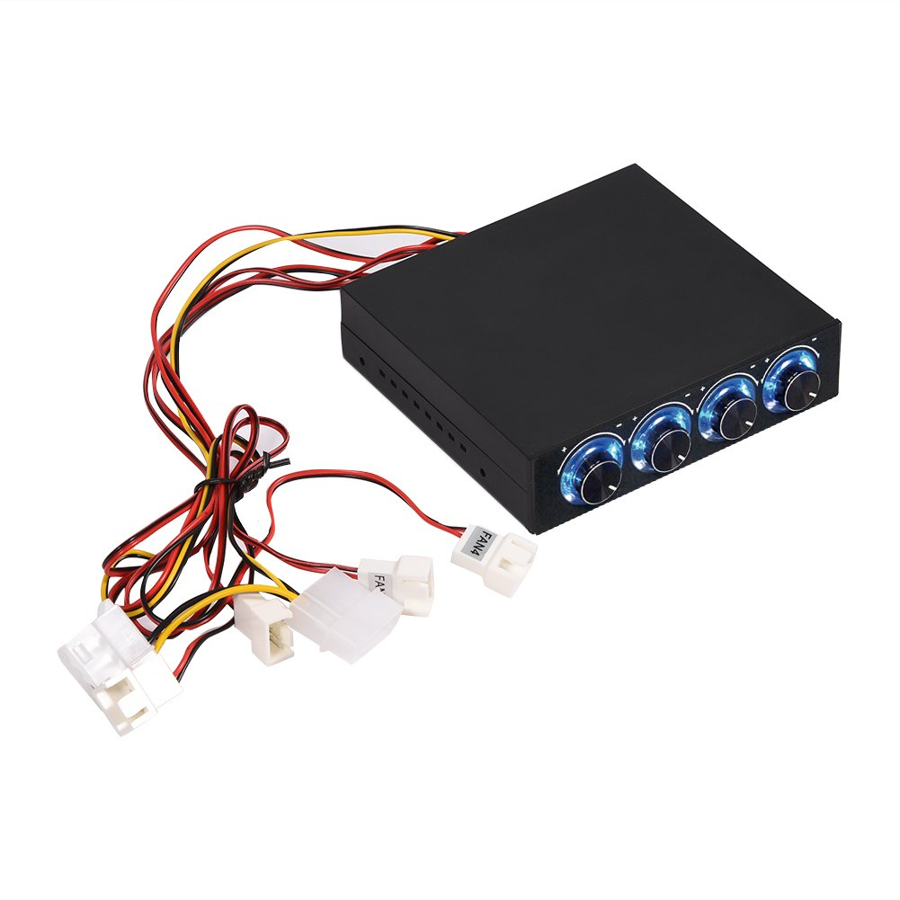 4 Channel Computer Fan Speeds /& Temperature Controller Heat Reducing for PC with Blue LED PC Fan Controller