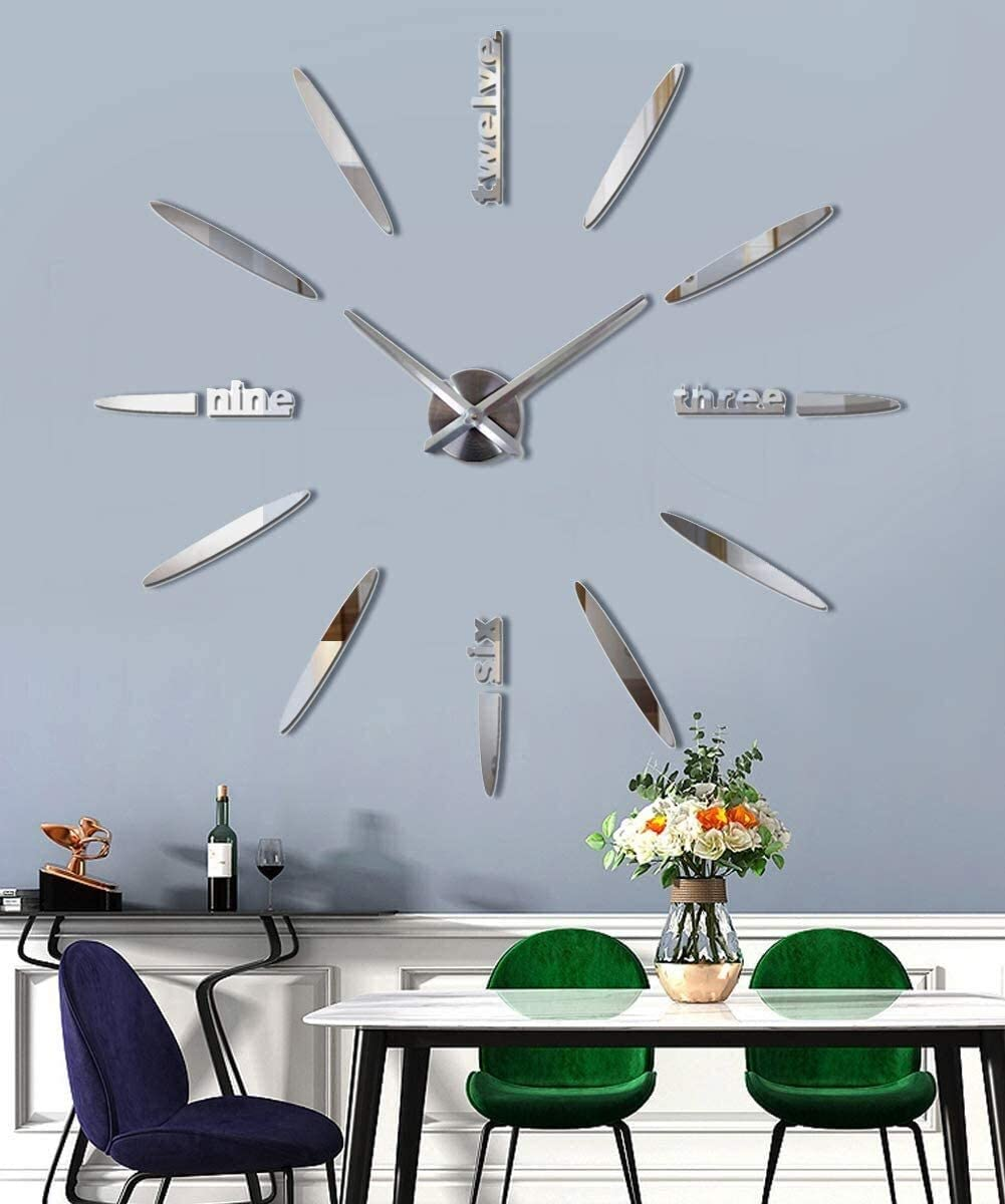 JUCK Large DIY Frameless Wall Clock, 3D Mirror Stickers Modern Design Watches Hours for Home Living Room Bedroom Office Decoration Gifts-Silver (Color : Silver)