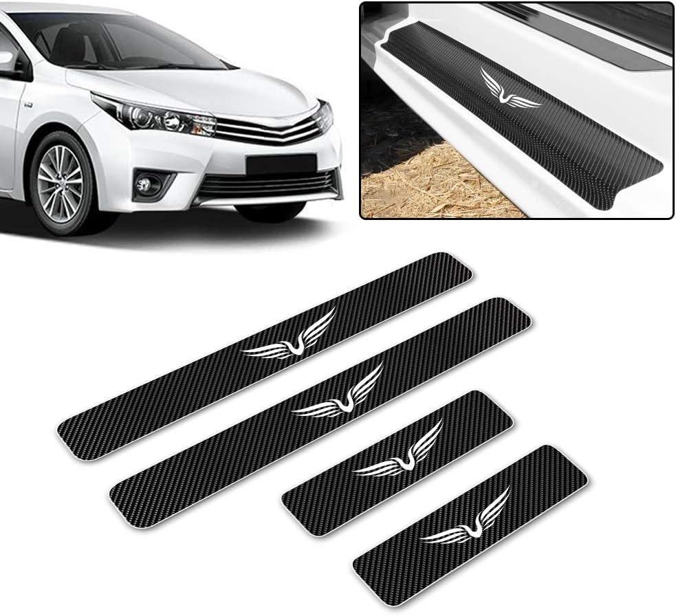 for Audi Q5 Carbon Fiber Door Sill Protector Anti-Kick Scratch Welcome Pedals Guards Threshold Sticker Pattern Bat 1 Blue 4Pcs