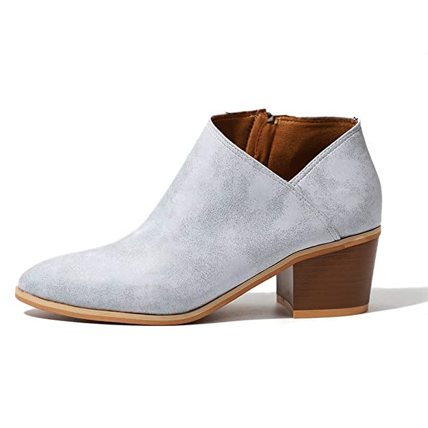 ffc39fa5af9 V-DOTE Women Leather Low Heel Zip Chelsea Ankle Ladies Boots Wide Fit