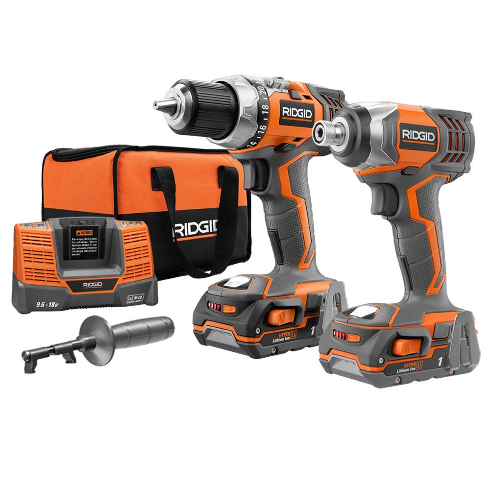 Ridgid ZRR9600 X4 Hyper 18V Cordless Lithium-Ion 1/2 in. Drill Driver and Impact Driver Combo Kit (Renewed)