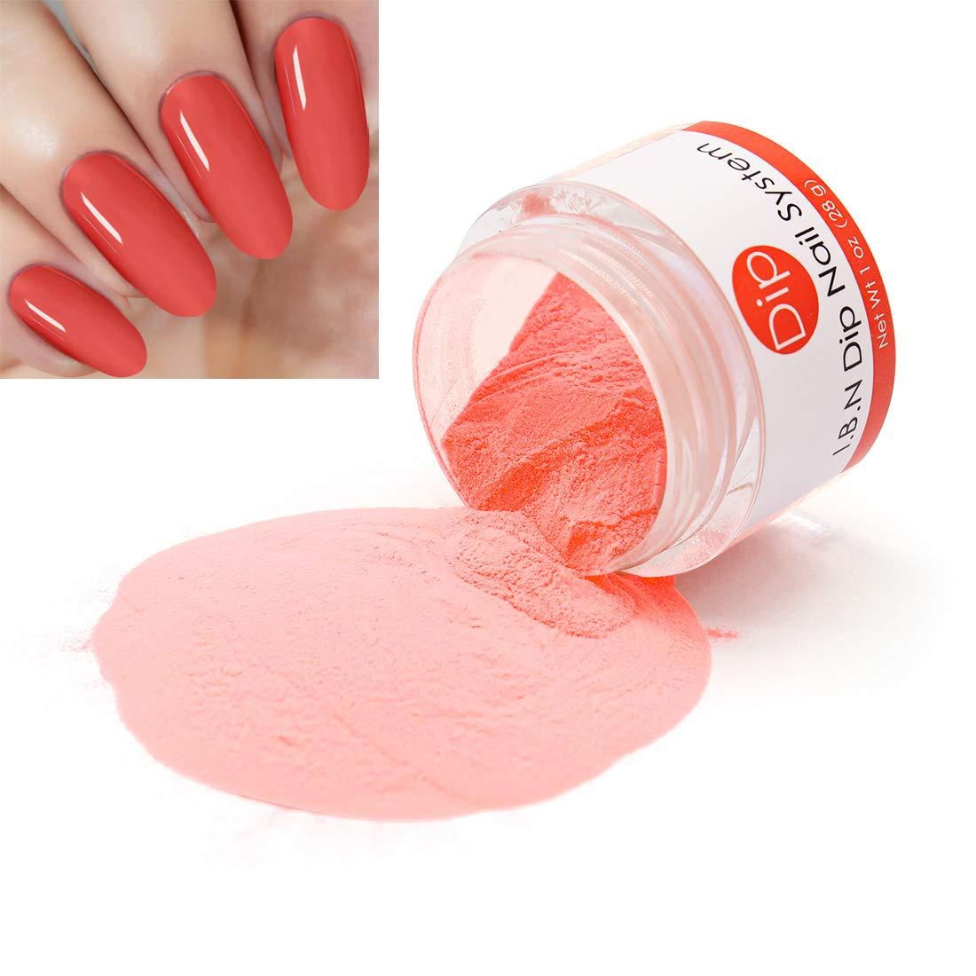 Orange Red Dipping Powder (Added Vitamins) 1 Ounce, I.B.N Dipped Acrylic Dip Powder DIY Manicure Salon Home Use (DIP 027)