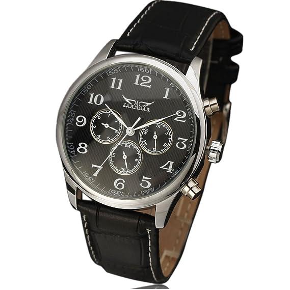 JARAGAR Relojes Classic para hombre automático FECHA automática reloj mecánico Self-winding analógico esqueleto negro