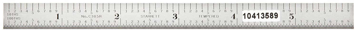 1//64 Thickness Starrett C316R-12 Full Flexible Steel Rule With Inch Graduations 1//2 Width 12 Length 16R Style Graduations