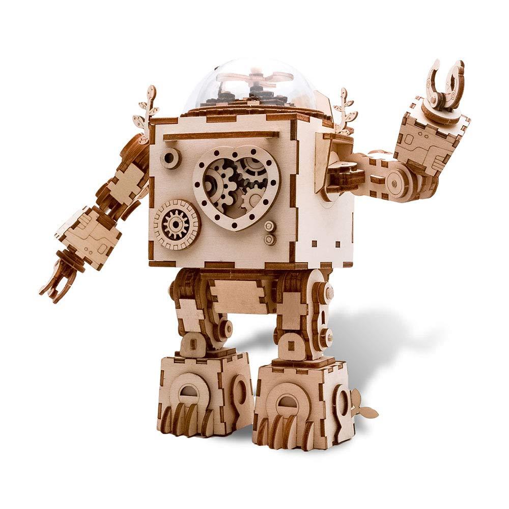 【大放出セール】 DIY オルゴール DIY 3Dパズルモデルキット ロボット オルゴール ウッドクラフト組み立てキット 女の子や男の子へのプレゼントに - ロボット B07H7G33CB, 【最安値に挑戦】:23131362 --- arcego.dominiotemporario.com