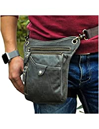 Mens Genuine Leather Motorcycle Waist Pack Messenger Shoulder Drop Leg Bag