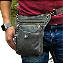 Le'aokuu Mens Genuine Leather Motorcycle Waist Pack Messenger Shoulder Drop Leg Bag
