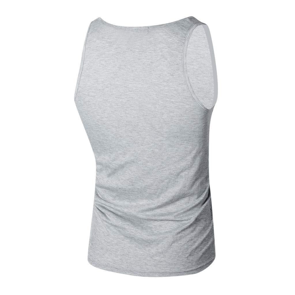 Tanhangguan Mens Sleeveless Letter Printed Tank Top Casual T-Shirts Tops Blouses