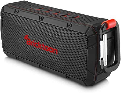 Bricktoon V3 Portable 4.0 Bluetooth 10W Wireless Speaker – FM Stereo – Enhance Bass – Micro SD Player IPX6 Waterproof 12 hrs Playback – Outdoor Indoor Durability – Hands Free Speakerphone Mic