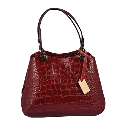 Bolso En Piel Verdadera Estampado Cocodrilo Color Rojo - Peleteria Echa En Italia - Bolso Mujer: Amazon.es: Zapatos y complementos