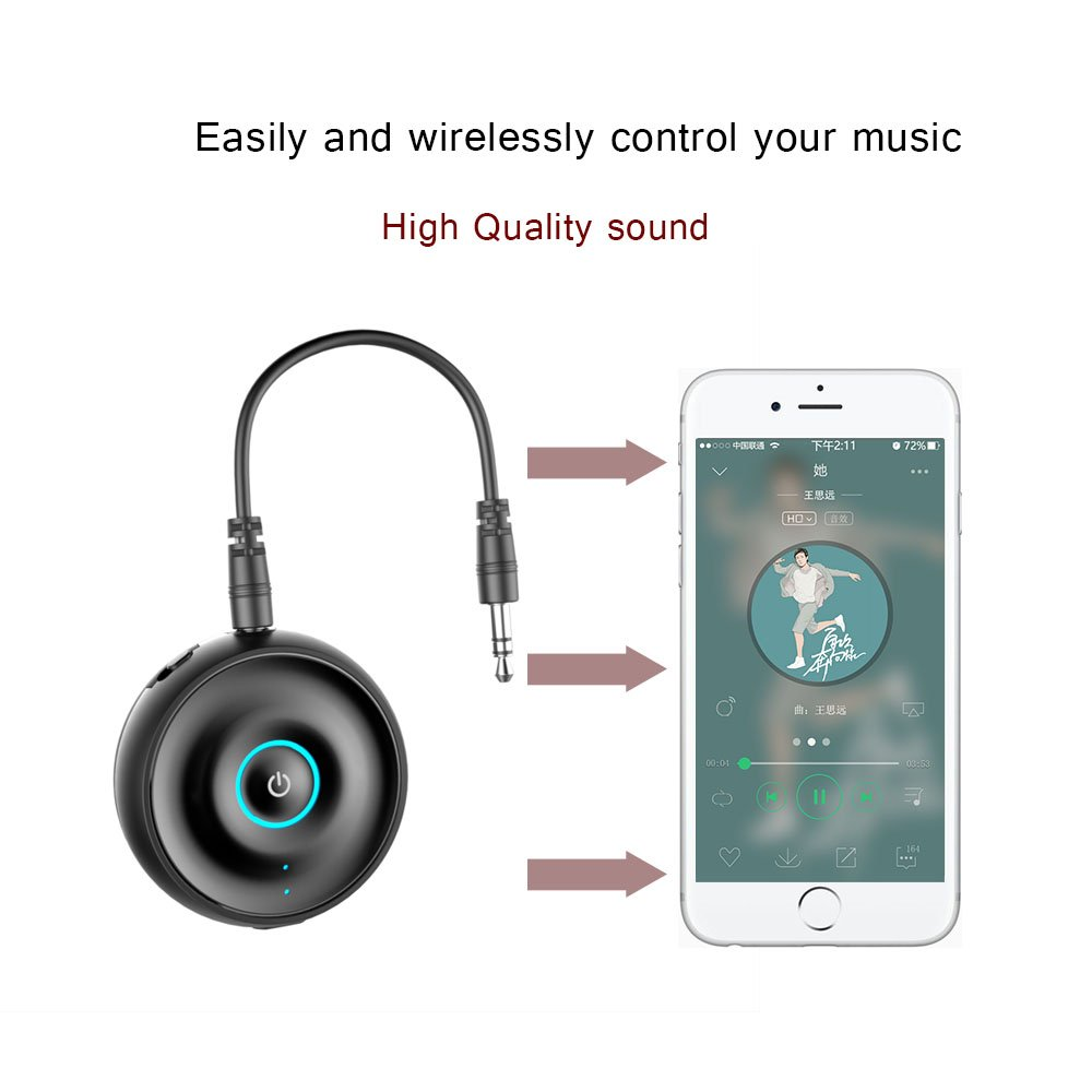 Bluetooth Transmitter/Receiver, AIRGINE 2-in-1 3.5mm Audio Wireless Adapter for Speaker TV Home Stereo System