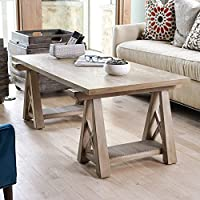 Hives and Honey Haven Home Griffin Taupe Mist Sawhorse Coffee Table