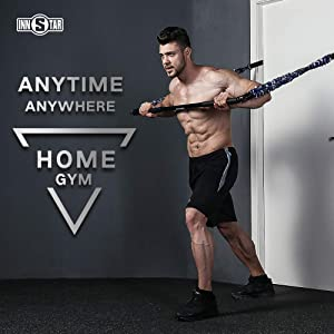 INNSTAR GYM 3.0 Bench Press Resistance Band Set with Bar, Handles, Foot Straps, Door Anchors, Portable Chest Builder Full Body Workout Equipment, Arm Expander for Home Fitness