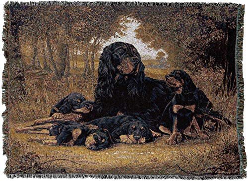 Pure Country Weavers - Gordon Setter Woven Tapestry Blanket with Fringe Cotton USA 72x54
