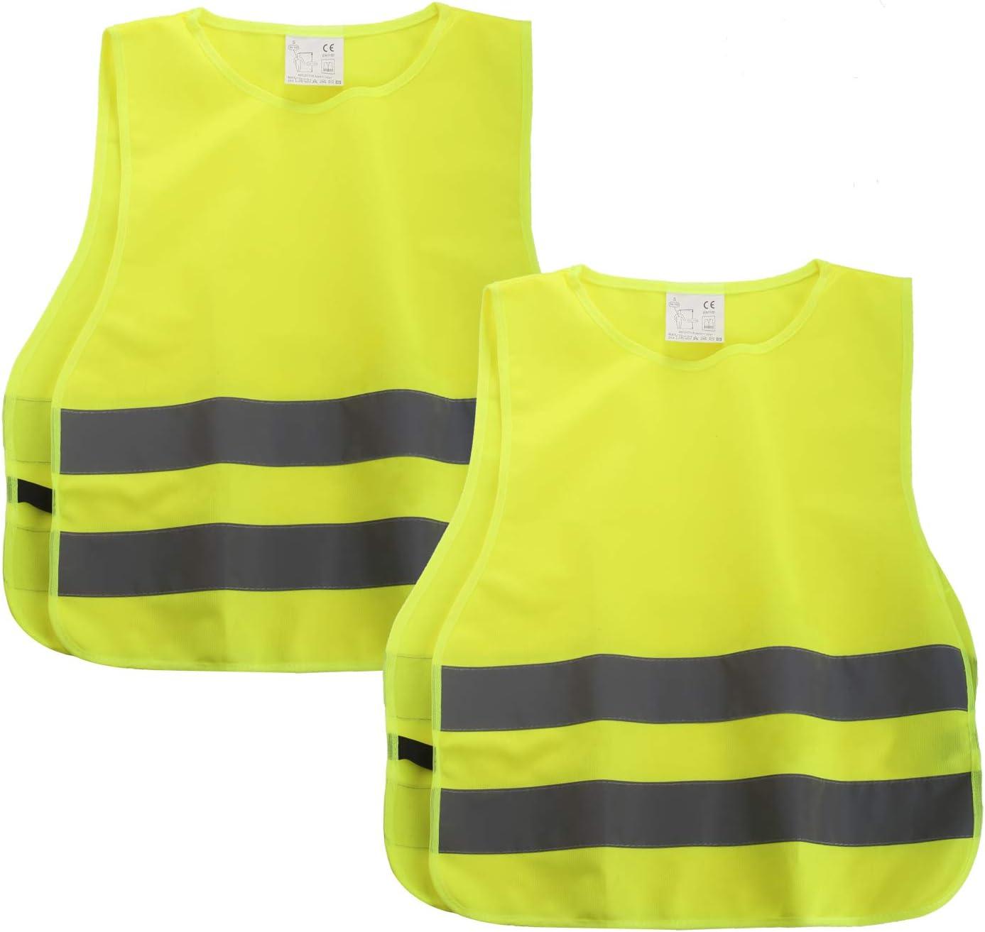 45x40CM 360 Grad Reflektierende Sicherheitsweste Gelb SHYOSUCCE 2 St/ück Warnwesten Kinder EN1150 Universal Gr/ö/ße XS f/ür Jungs M/ädchen