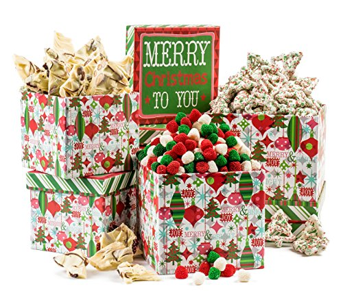 Santas Huge Package - 3 Tier Christmas Sweets Holiday Joy Assortment Gift Box in Festive Packaging